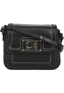 Bolsa Couro Jorge Bischoff Mini Bag Floater Basic Feminina - Feminino-Preto