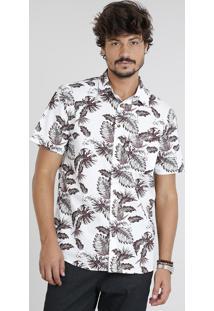 Camisa Masculina Estampada De Folhagem Com Bolso Manga Curta Branca