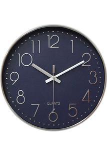 Relógio De Parede 30Cm Azul E Prata