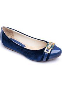 Sapatilha Feminina Top Franca Shoes Verniz - Feminino-Azul