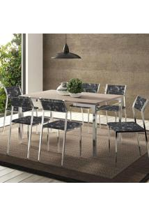 Mesa 1526 Nogueira Cromada Com 6 Cadeiras 1709 Fantasia Preto Carraro