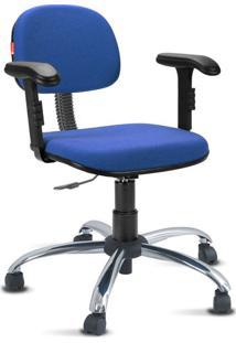Cadeira Escritório Azul Médio Cromada Com Braços