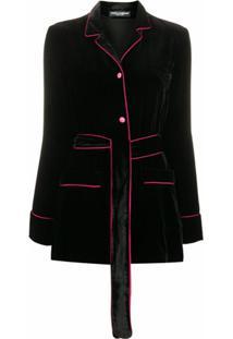Dolce & Gabbana Jaqueta De Veludo Com Acabamento Contrastante - Preto