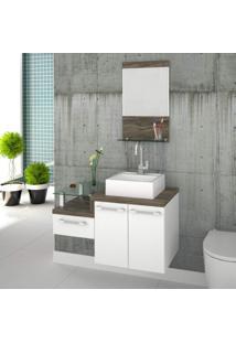 Gabinete Para Banheiro 2 Portas 1 Gaveta Com Cuba E Espelheira Legno 831W Siena Móveis Branco/Carvalho Dark