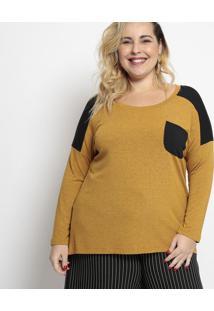 Blusa Lisa Com Bolso- Amarela & Pretamelinde