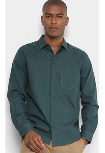 Camisa Manga Longa Forum Slim Fit Bolso Masculina - Masculino-Verde Escuro