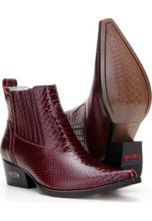 Bota Texana Country Capelli Boots Em Couro Com Bico Fino E Recortes Masculina - Masculino