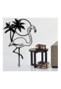 Adesivo De Parede Flamingo Coqueiro E Por Do Sol - M 60X41Cm
