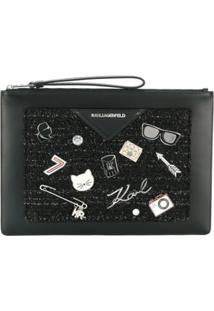 Karl Lagerfeld Clutch 'Klassik Pins' - Preto