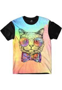 Camiseta Bsc Animais Hipster Gato Masculina - Masculino-Rosa