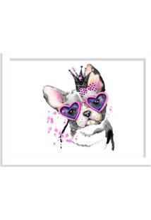 Quadro Decorativo Bulldog Princesa Rosa Pink Branco - Médio