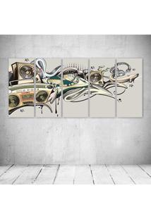 Quadro Decorativo - Music Old School - Composto De 5 Quadros