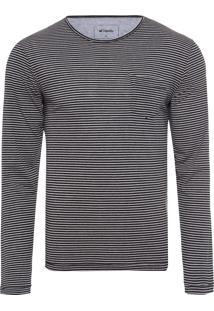 Camiseta Masculina Manga Longa Listrada - Preto