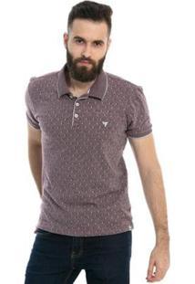 Camisa Polo D'Affari Em Malha Jacard Masculino - Masculino-Vermelho Escuro