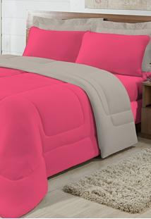 Edredom Solteiro Casa Modelo Dupla Face Malha 100% Algodão 1 Peça - Pink/Cáqui