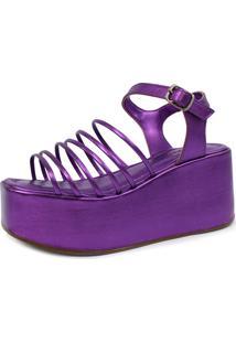 Sandália Plataforma Damannu Shoes Becky Metalizado Roxo