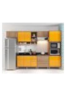 Cozinha Compacta Aéreos, Armário P/ Forno/Micro-Ondas E Balcões De Pia/Cooktop - Argila/Laca Amarelo