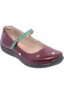 Sapatilha Conforto D&R Shoes Em Couro Feminina - Feminino-Vinho