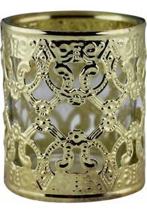 Castiçal De Metal Dourado E Vidro 6X6X7 Cm