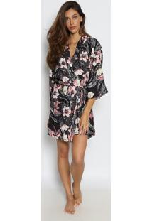 Robe Floral- Preta & Rosamorena Rosa