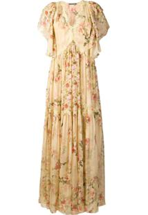 Alberta Ferretti Floral Print Long Dress - Neutro