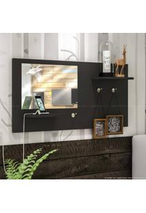 Painel Decorativo Com Espelho Look Preto - Estilare Móveis