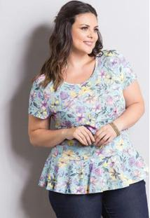 Blusa Peplum Floral Candy Color Marguerite