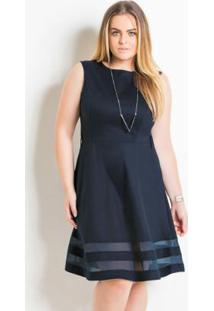 88008fe088 Posthaus. Vestido Evasê Quintess Plus Size Marinho