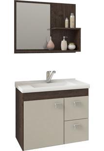 Conjunto Para Banheiro Com 1 Porta E 2 Gavetas Hortência-Mgm - Cafe / Off White