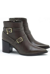 Ankle Boot Verofatto Ariane Fivela Couro Verde