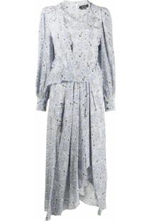 Isabel Marant Vestido Midi De Seda Com Estampa Paisley - Azul