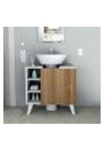 Gabinete Para Banheiro Slim Com 1 Porta - Branco/Castanho