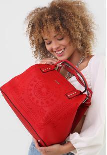 Bolsa Sacola Desigual Bordado Mandala Vermelha