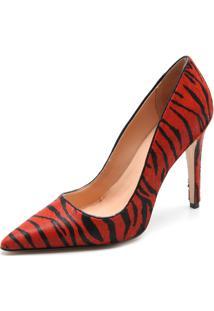 Scarpin Couro Luiza Barcelos Zebra Vermelha