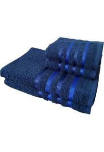 Jogo 4 Toalhas 2 Banho 2 Rosto - Onix Marinho - Azul Marinho - Dafiti