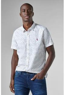 Camisa Reserva Folhas Elastano Mc Masculina - Masculino-Branco