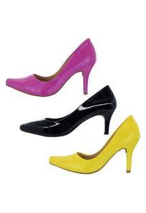 Kit 3 Pares Scarpin Verniz Salto Fino Médio Preto/Pink/Amarelo