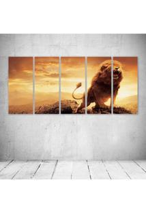 Quadro Decorativo - King Lion - Composto De 5 Quadros