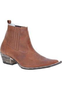 Bota Couro Texana Via Boots Masculino - Masculino-Marrom
