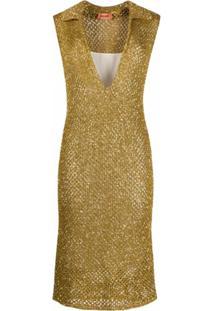Missoni Vestido De Tricô Com Aplicação De Paetês - Dourado