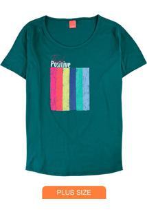 Blusa Verde Think Positive E Malha