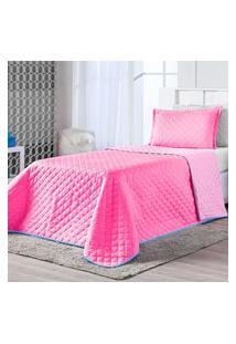 Kit Cobre Leito Dual Color Pink/Rosa Solteiro 02 Peças - Dupla Face