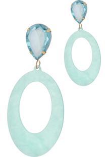 Brinco Le Diamond AcrãLico Geomã©Trico Base Cristal - Azul - Feminino - Dafiti