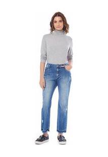 Calça Maria.Valentina Boy Fit M. Alice Cós Intermediário Bordado Industrial Jeans