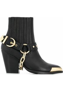 Versace Jeans Couture Ankle Boot Com Aplicação Metálica - Preto