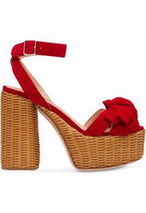 Miu Miu Sandália Plataforma Com Padronagem Trançada - Vermelho