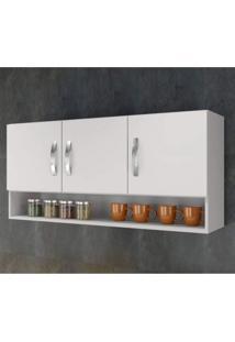 Armário Aéreo De Cozinha 3 Portas 1 Nicho Arte Móveis Branco