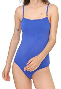 Body Morena Rosa Liso Azul - Azul - Feminino - Algodã£O - Dafiti