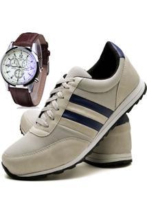 Sapatênis Sapato Casual Com Relógio Juilli Com Cadarço Masculino 01L Branco