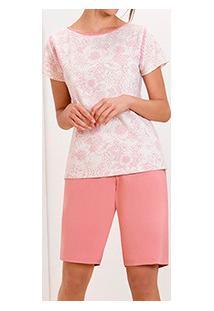 Pijama Curto Feminino Floral Lupo (24250-002) Bermudoll